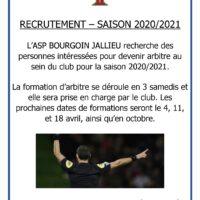 ASP BOURGOIN - Recherche personne pour formation d'arbitre ou arbitre libre - Saison 2020/2021